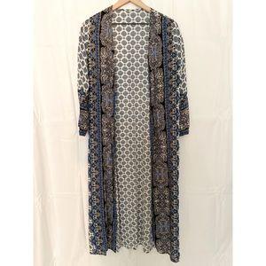 Tops - Patterned 3/4 Sleeve Duster Kimono